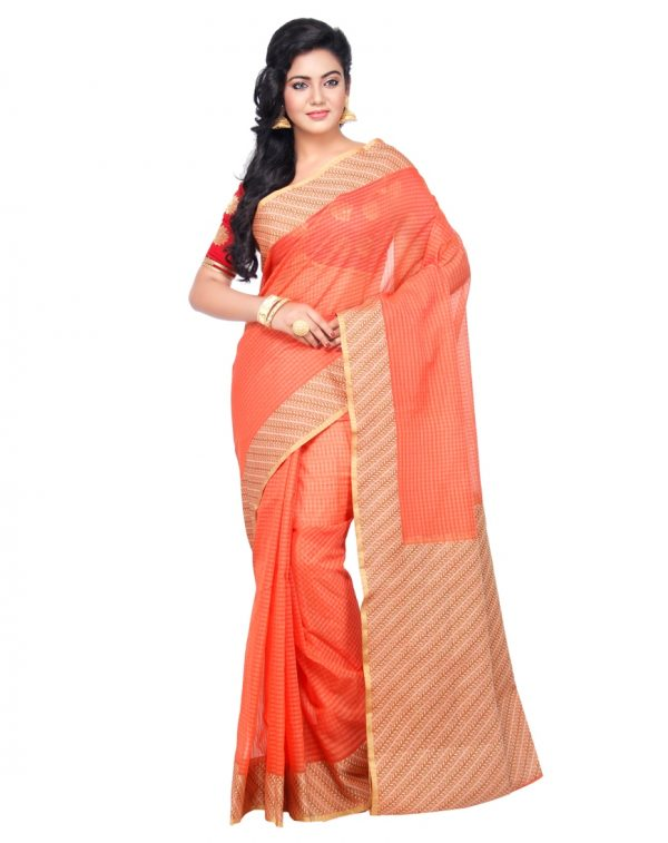 Peach Moonga Check Fancy Banarasi Aanchal Border Saree