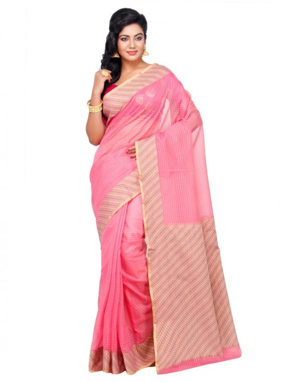 Pink Moonga Check Fancy Banarasi Aanchal Border Saree