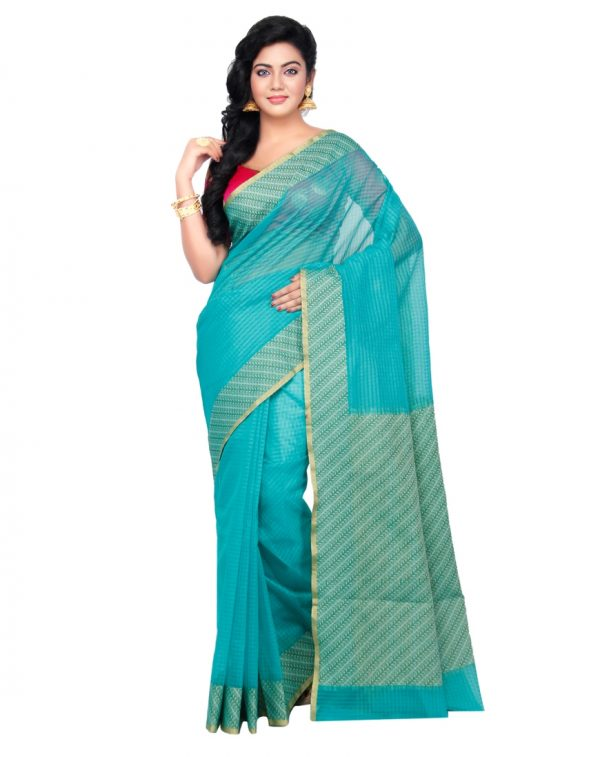 Sea Green Moonga Check Fancy Banarasi Aanchal Border Saree