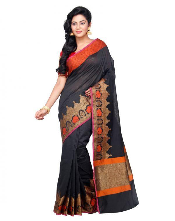 Black Chanderi Cotton Fancy Banarasi Border Saree