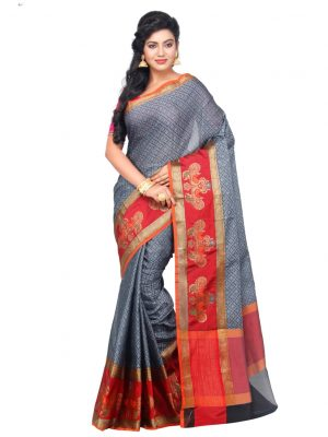 Grey Cotton Blend Fancy Banarasi Saree