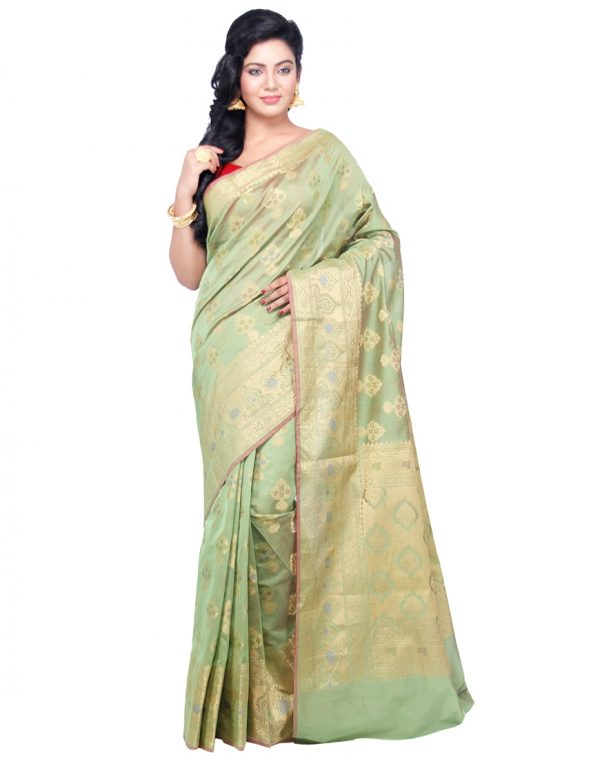 Mehandi Chanderi Cotton Fancy Banarasi Border Saree