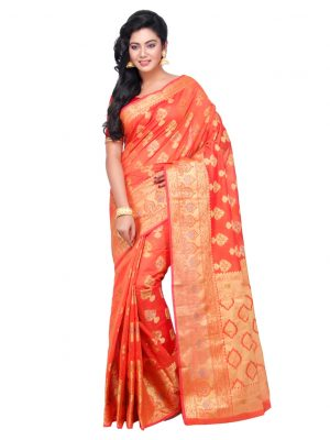 Orange Chanderi Cotton Fancy Banarasi Border Saree