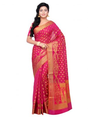 Rani Pink Cotton Blend Fancy Banarasi Zariwork Saree
