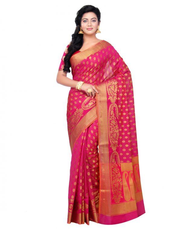 Rani Pink Cotton Blend Fancy Banarasi Zariwork Saree