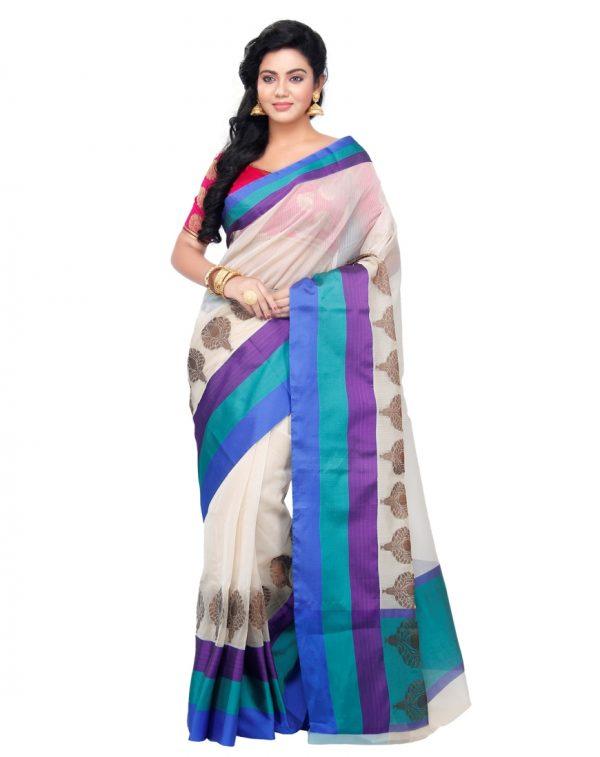 Cream Cotton Silk Fancy Resham Work Banarasi Saree