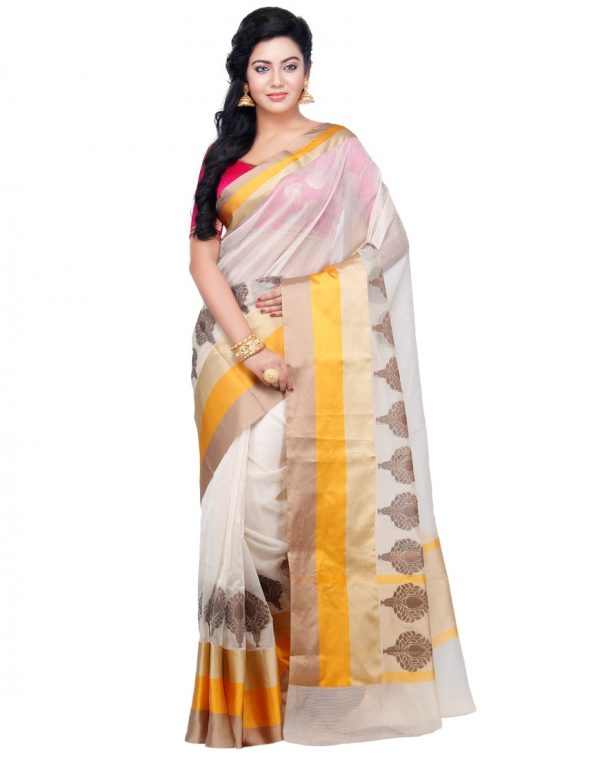 Cream Cotton Silk Fancy Resham Work Banarasi Saree