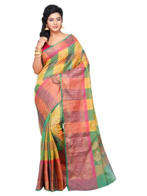 Mehandi Cotton Silk Fancy Resham Work Banarasi Saree