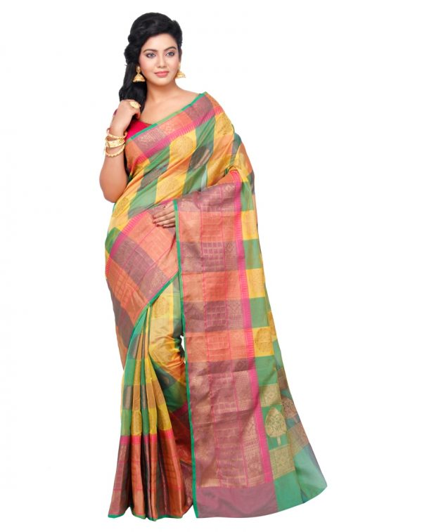Mehandi Cotton Silk Fancy Resham Work Banarasi Saree