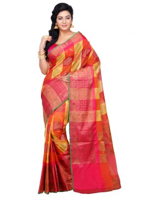 Orange Cotton Silk Fancy Resham Work Banarasi Saree