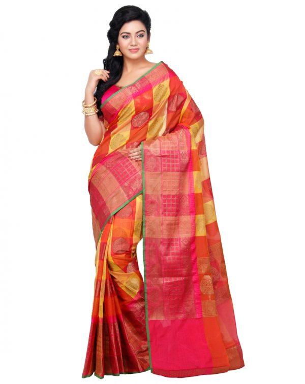Orange Cotton Silk Fancy Resham Work Banarasi Saree
