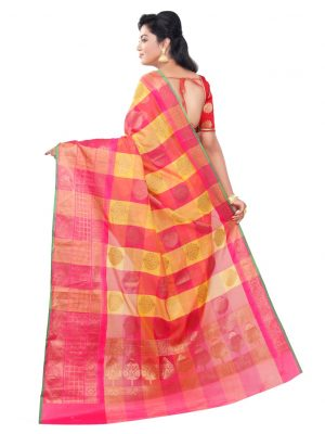 Pink Cotton Silk Fancy Resham Work Banarasi Saree