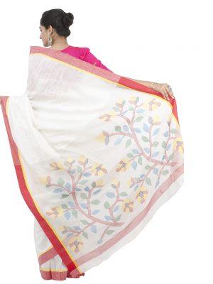 White Matkaa Linen Jamdani