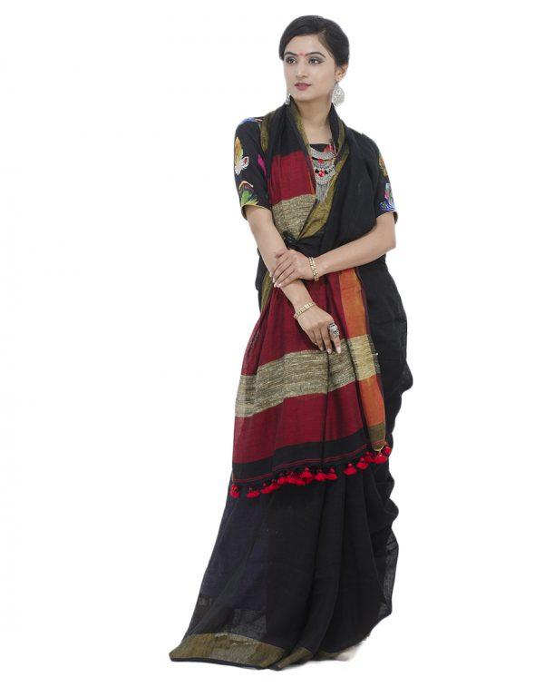 Black Giccha Pallu Linen Jamdani