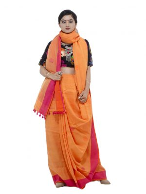 Orange Khadi Cotton
