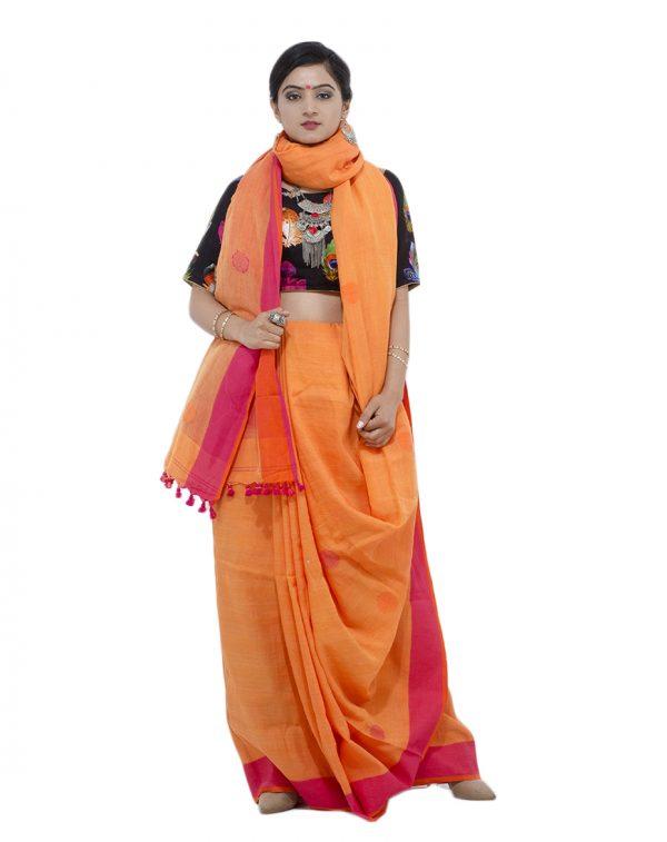 Orange Khadi Cotton