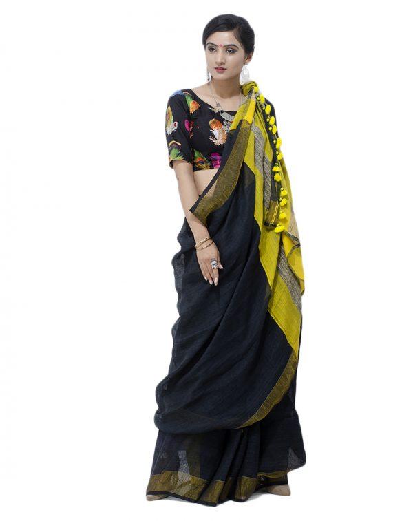 Black Giccha Pallu Linen Jamadani