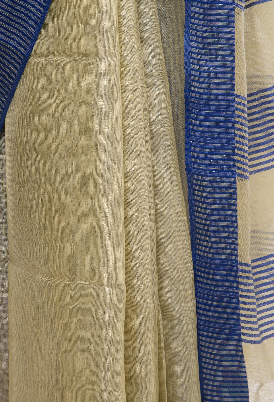 Biege Tissue Linen Saree