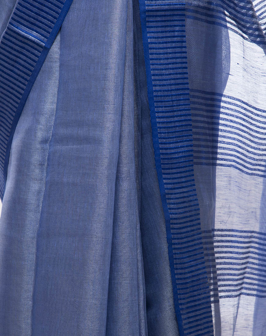 Cobalt Blue tissue linen Saree