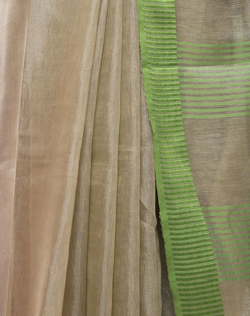 Tissue Linen saree with Green Border