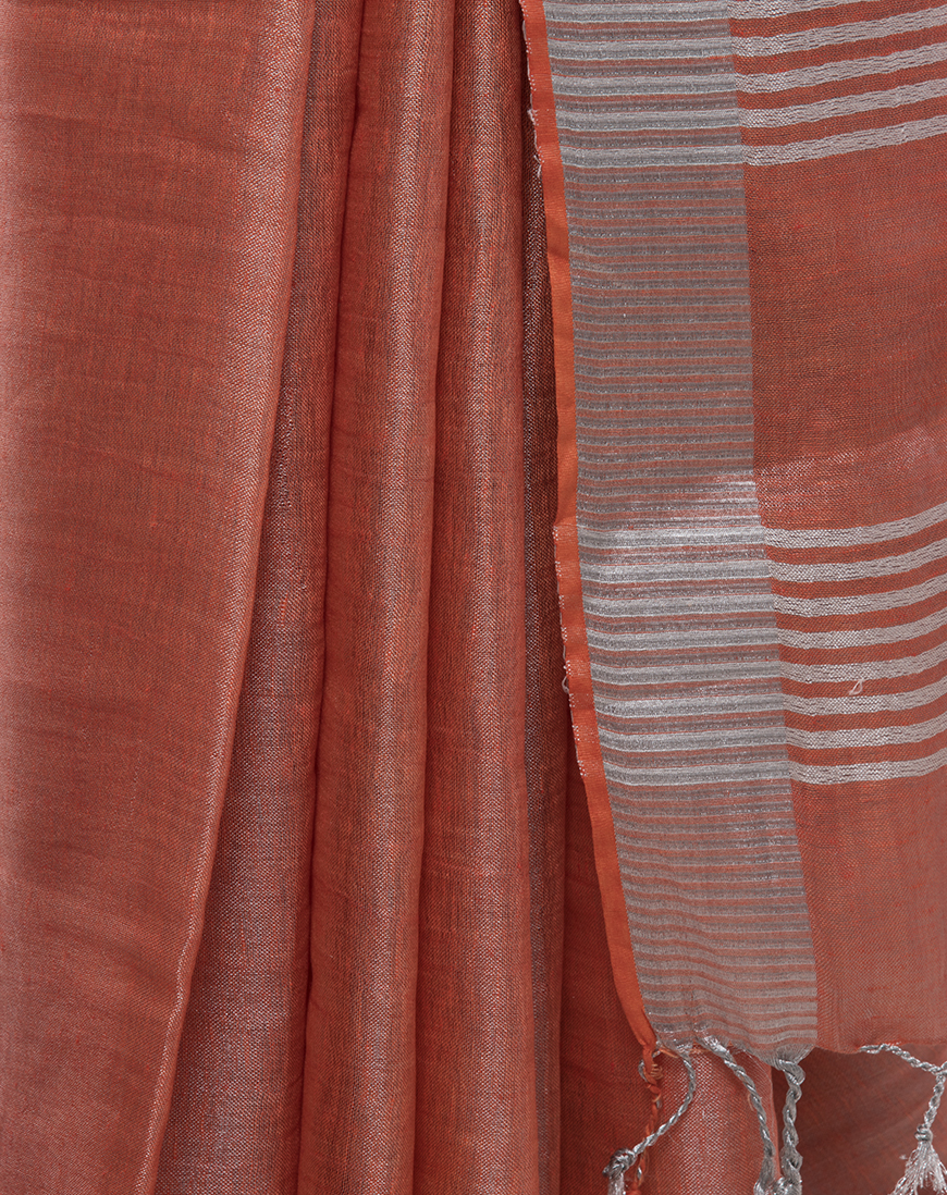 DARK PEACH TISSUE LINEN SAREE WITH SILVER BORDER