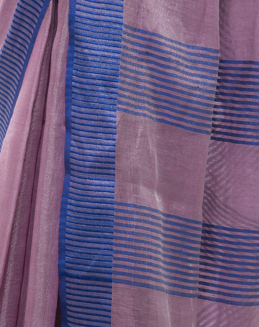 TISSUE LINEN SAREE WINE COLOR