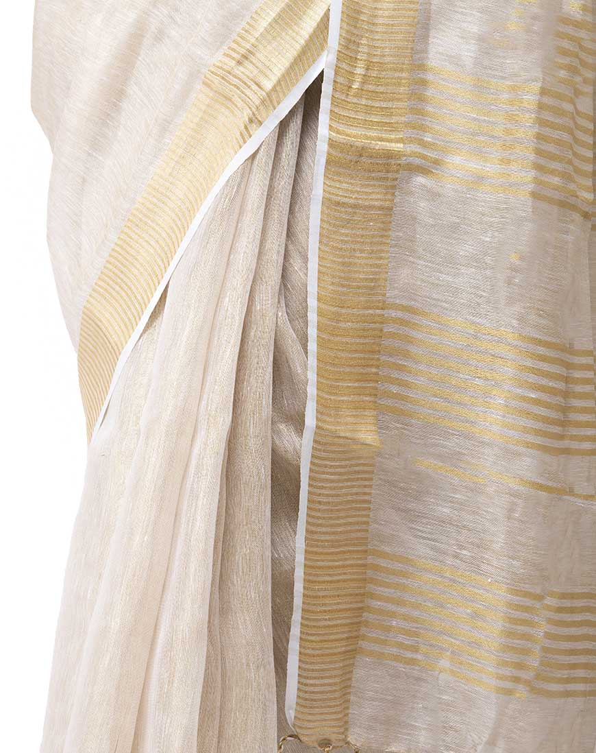 CREAMY LIGHT TISSUE LINEN SAREE
