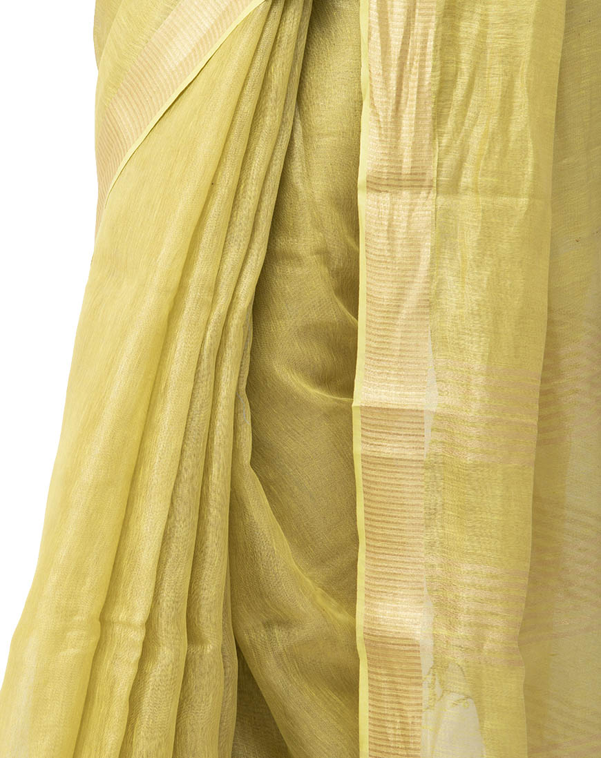 LIGHT MUSTARD TISSUE LINEN SAREE