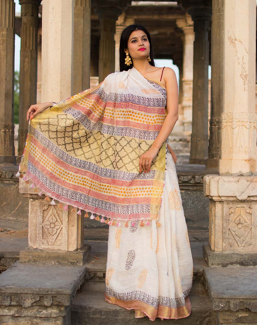 BLOCK PRINT WHITE PURE LINEN SAREE