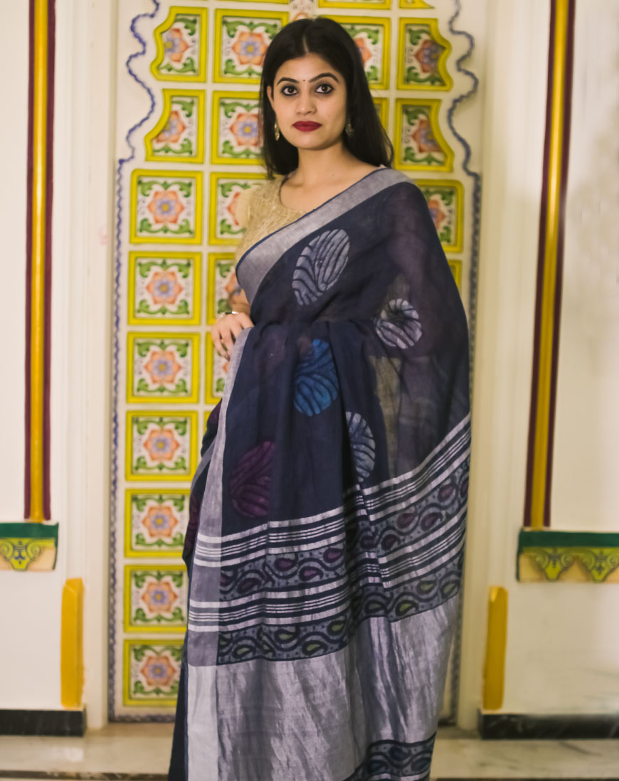 Block Print Linen Saree