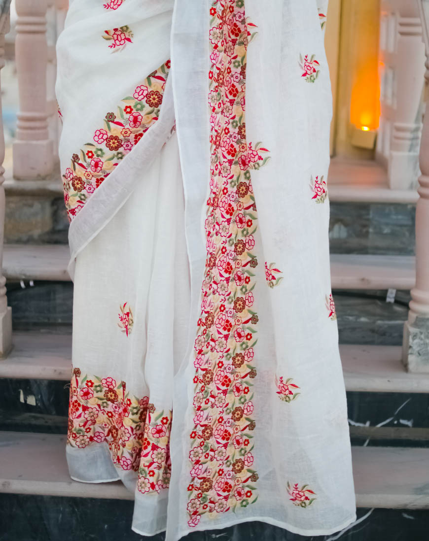 White Linen Embroidered saree