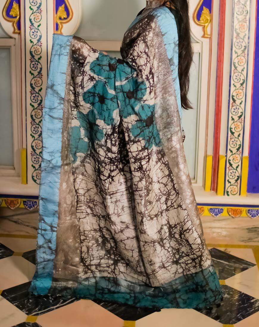 Block Print Batik Linen saree