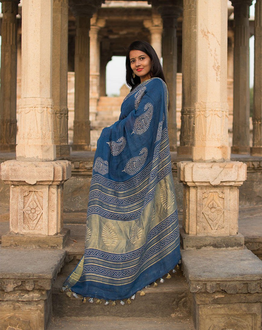 Block Print Leaf Brocade Linen saree