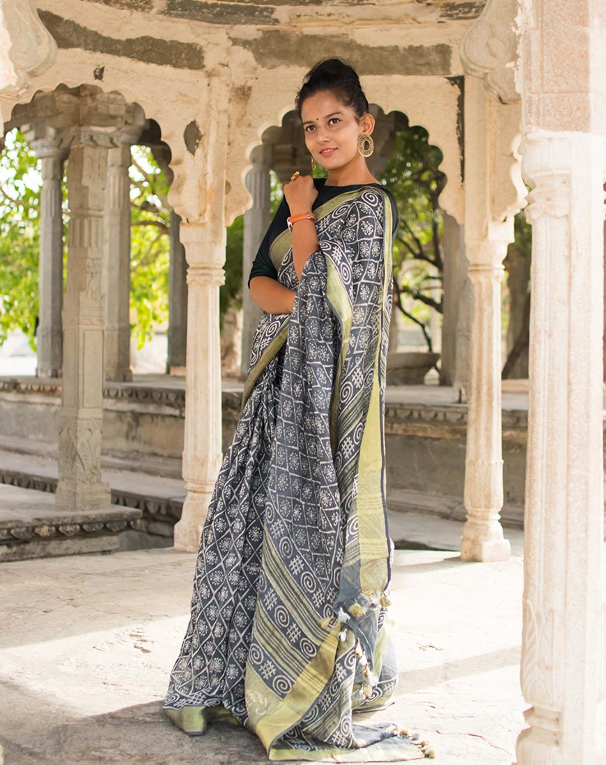 BLOCK PRINT LIGHT CONTRAST LINEN SAREE