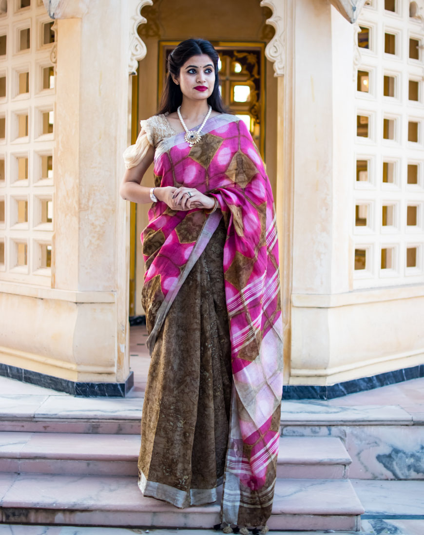 BLOCK PRINT BLOWN PINK SHADOW LINEN SAREE