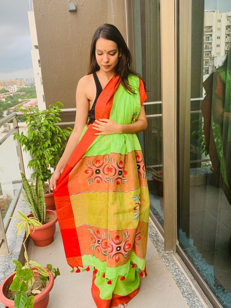 GREEN HANDPAINTED LINEN SAREE