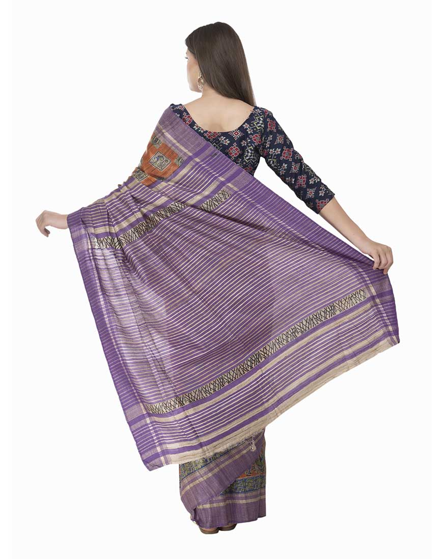 PURE GICCHA SILK PRINTED SAREE