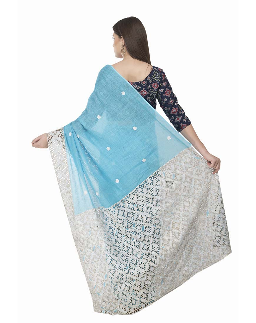 LINEN SKY BLUE HANDCRAFTED CUT WORK SARI