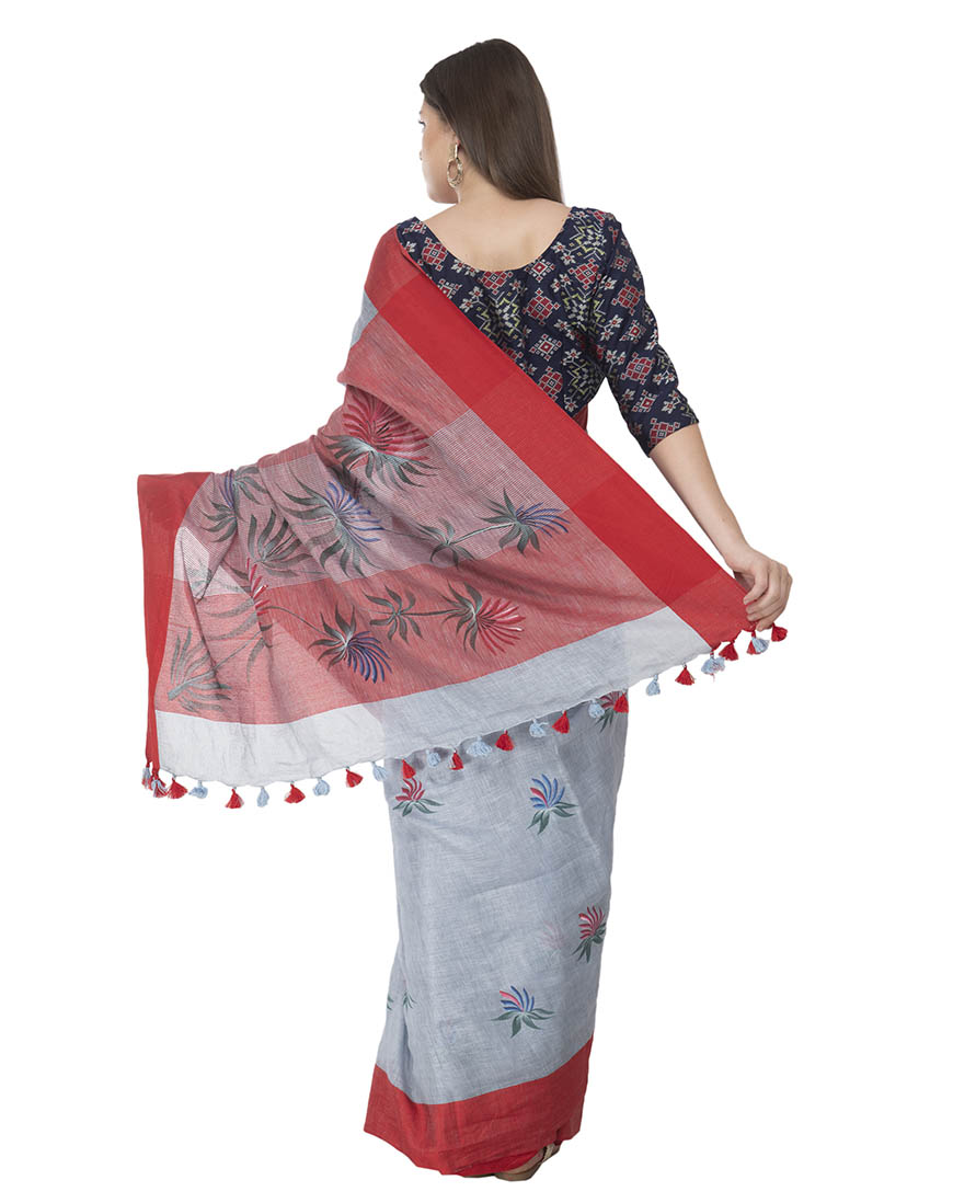 GREY BRUSHPAINTED LINEN SAREE