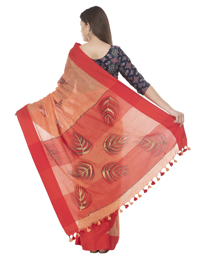 RED BRUSHPAINTED LINEN SAREE