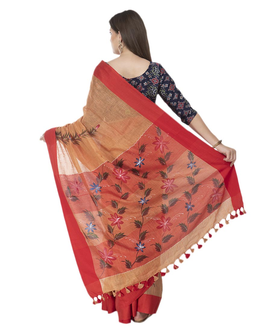 RED BRUSH PAINTED LINEN SAREE