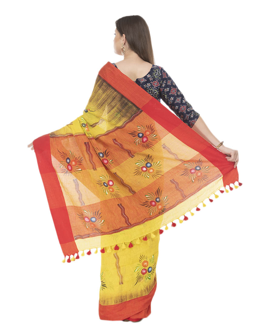 YELLOW BRUSH PAINTED SAREE