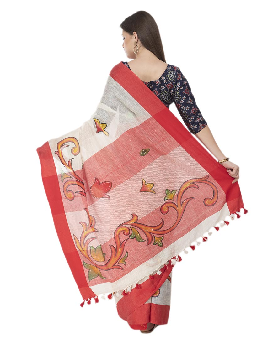 FLORAL WHITE BRUSH PAINTED LINEN SAREE