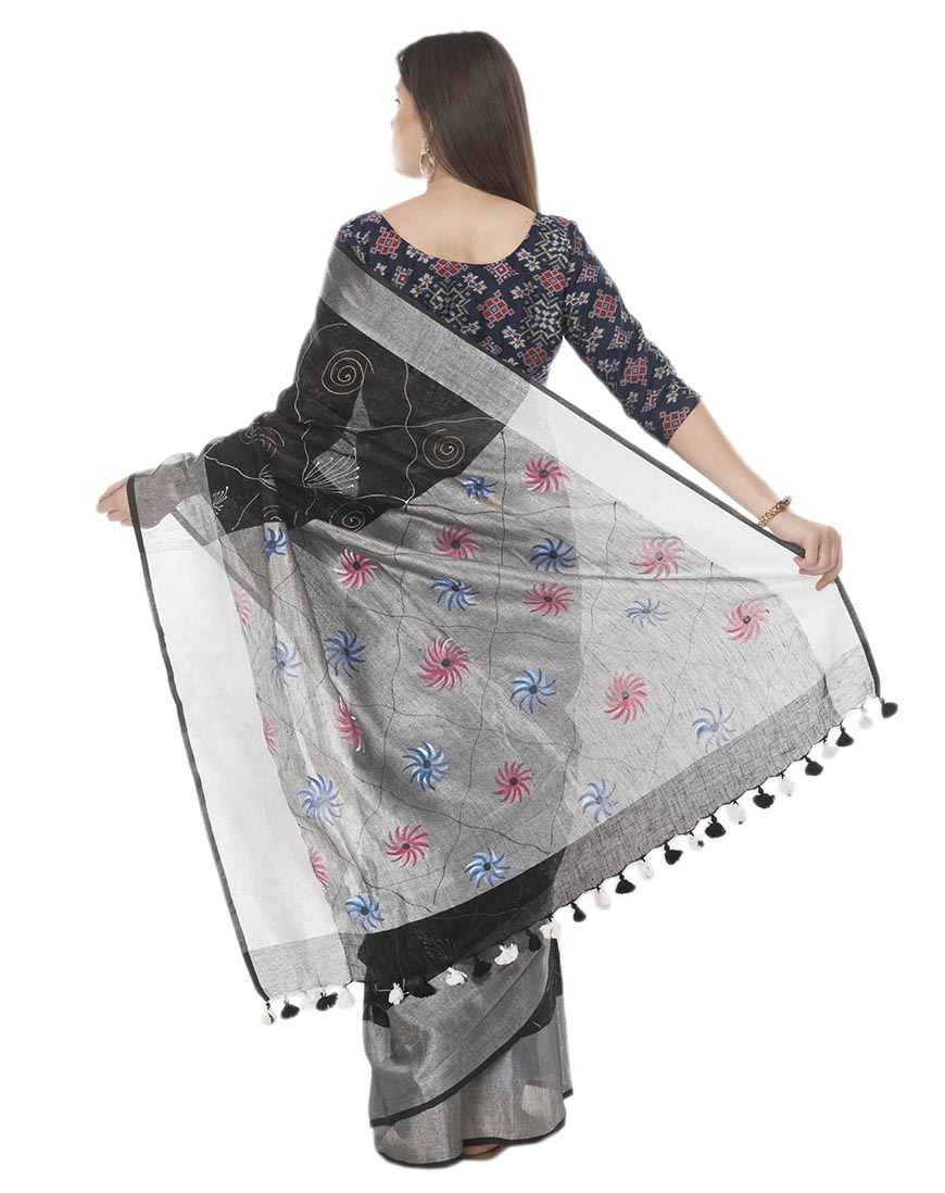 BKLACK BRUSH PAINTED LINEN SAREE