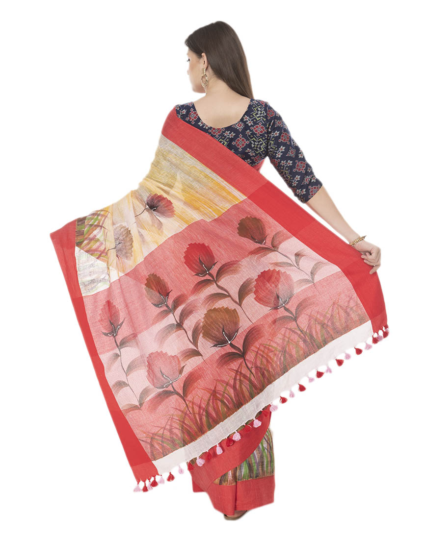 BRUSH PAINTED LINEN SAREE