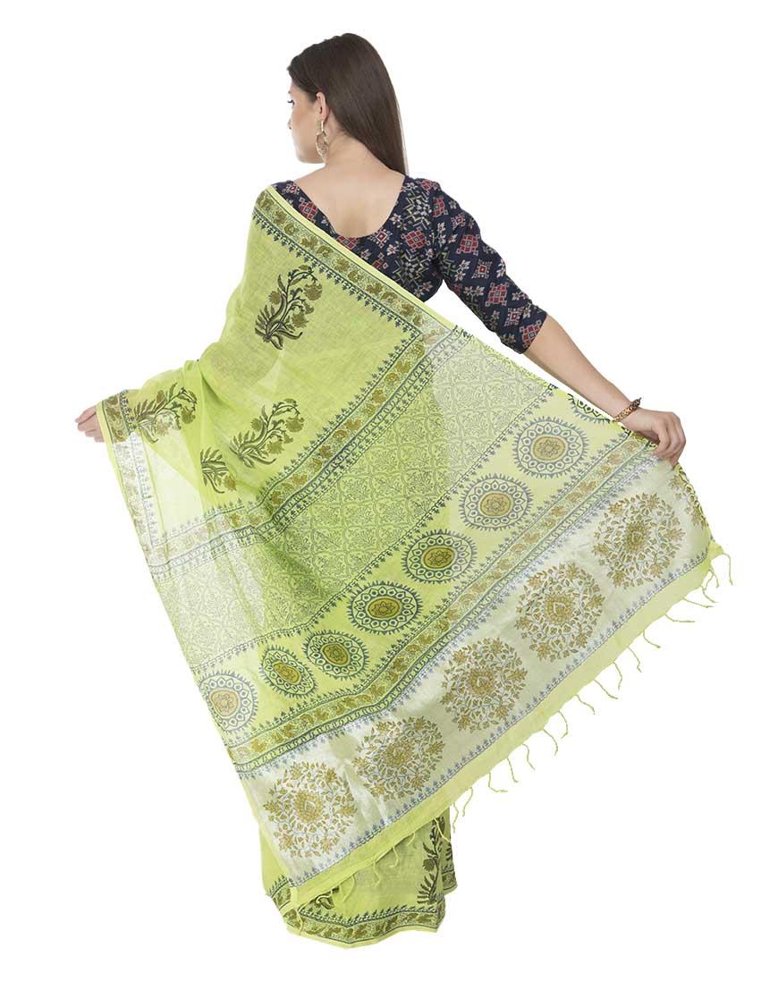 Earthy Green Block Print Linen