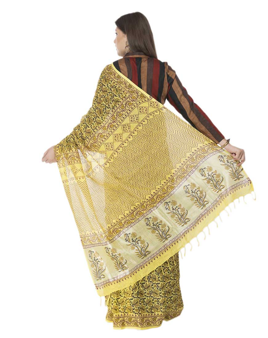 Yellow Block Print Linen Saree
