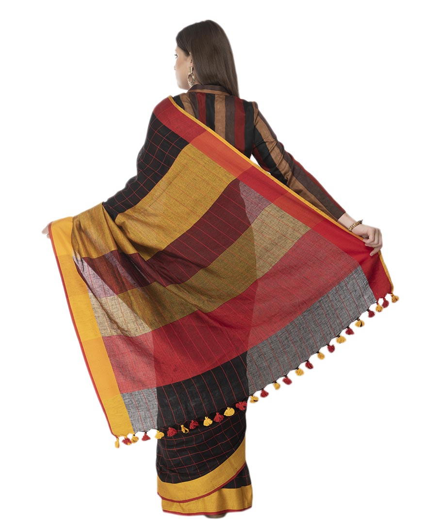 STRIPE BLACK YELLOW LINEN SAREE