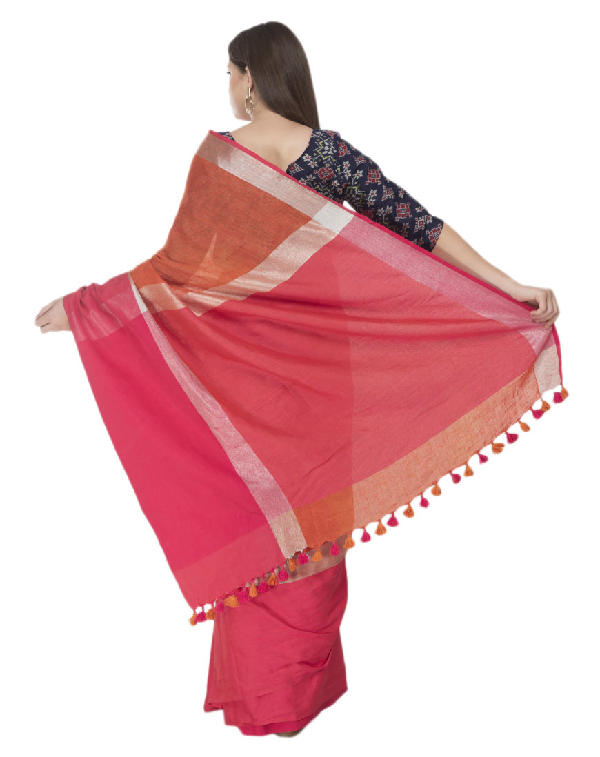 RUST AND PINK BORDER LINEN SAREE