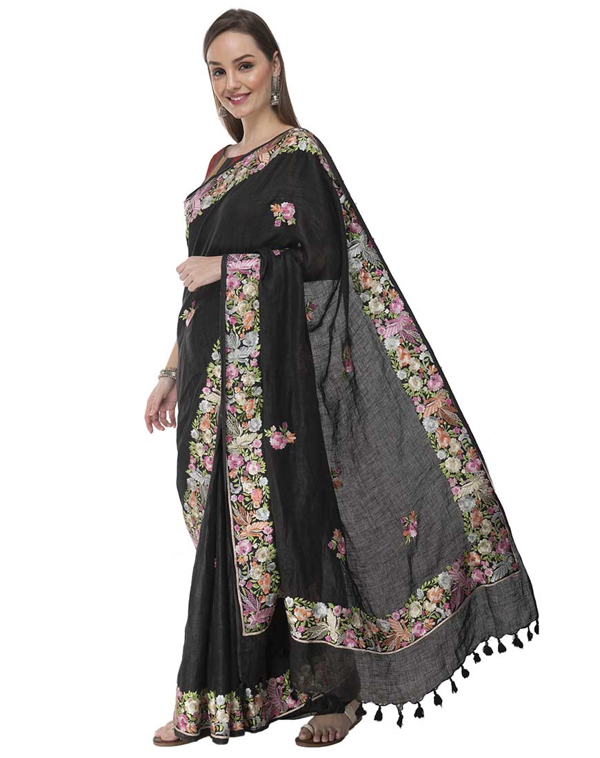 DESIGNER PARSI EMBROIDERED LINEN SAREE